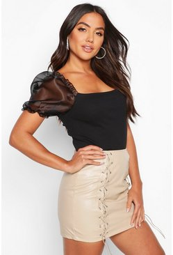 Black Organza Puff Sleeve Ribbed Crop Top