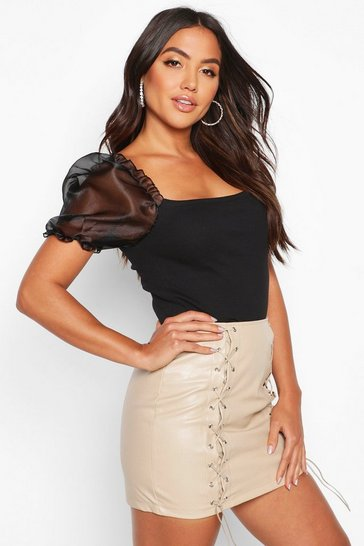Womens Black Organza Puff Sleeve Ribbed Crop Top