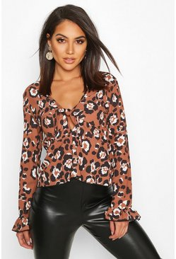 Womens Rust Leopard Tie Front Flute Sleeve Top