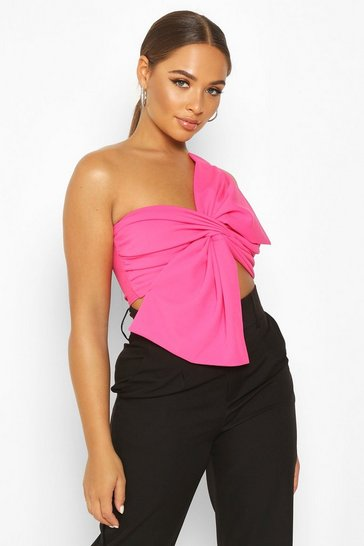 Womens Hot pink Asymetric Twist Bow Detail Crop Top