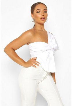 White Asymetric Twist Bow Detail Crop Top