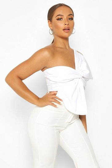 Womens White Asymetric Twist Bow Detail Crop Top