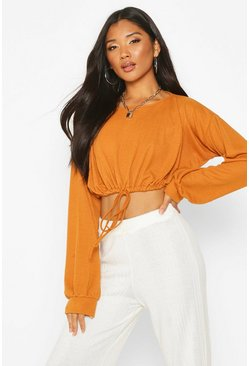 Womens Mustard Oversized Soft  Rib Waist Tie Top