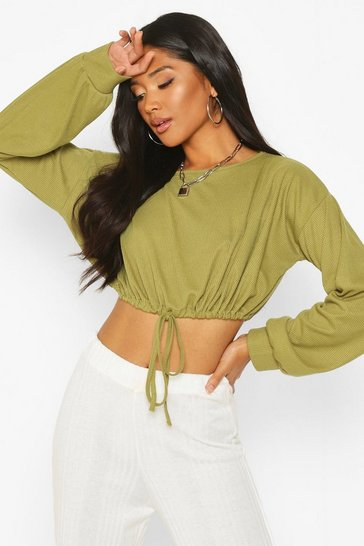 Womens Olive Oversized Soft  Rib Waist Tie Top