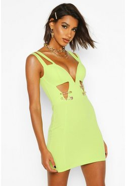 Womens Lime Safety Pin Bodycon Dress