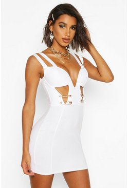 Womens White Safety Pin Bodycon Dress