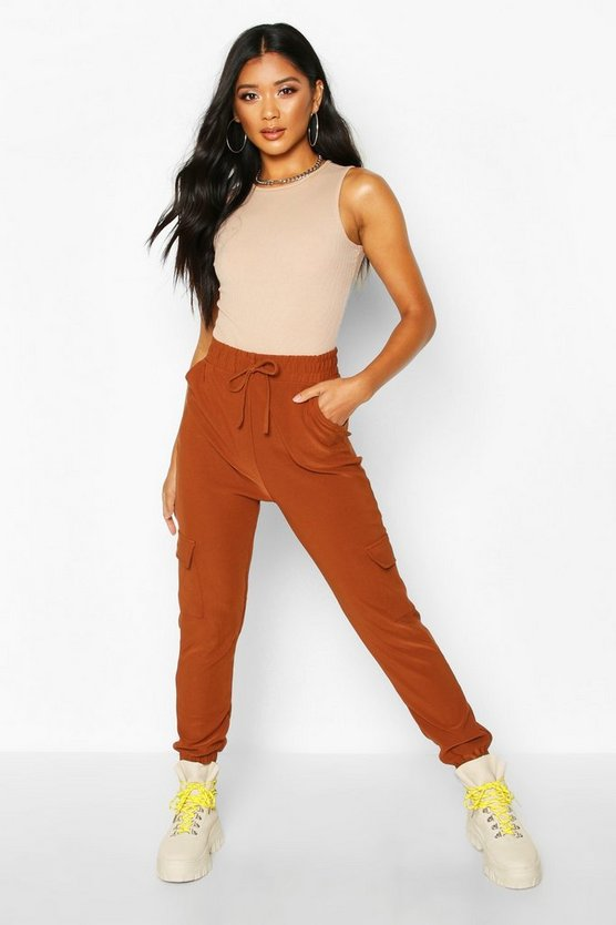 Womens Tan Cargo Pants With Pocket & Drawcord Waist