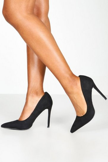 Womens Black Basic Stiletto Heel Court Shoes