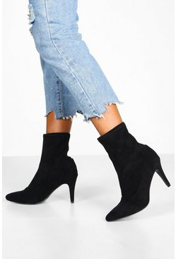 Womens Black Basic Stiletto Heel Sock Boots