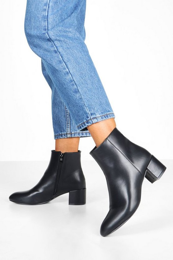 Basic Block Heel Shoe Boots