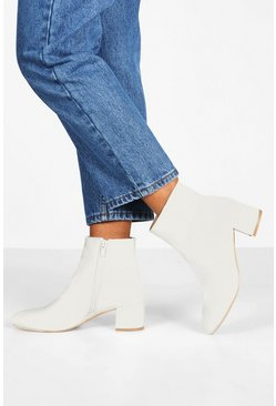 White Basic Block Heel Shoe Boots