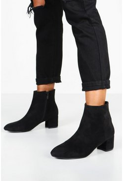 Womens Black Basic Block Heel Shoe Boots