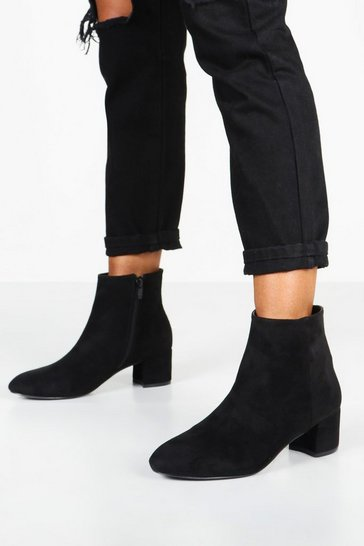 Black Basic Block Heel Shoe Boots