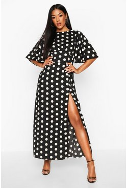 Black Polka Dot Flared Sleeve Midi Dress