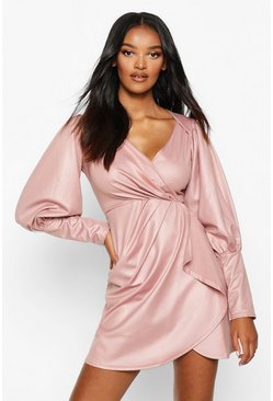 Womens Blush Wet Look Gathered Wrap Mini Dress