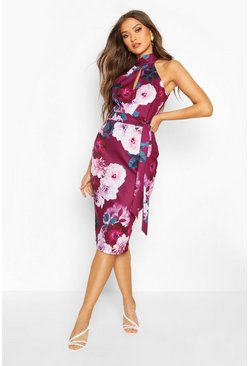 Dam Plum High Neck Floral Cut Out Detail Midi Dress