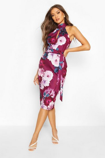 Plum High Neck Floral Cut Out Detail Midi Dress