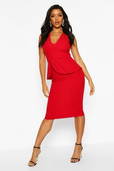 Womens Red V Neck Peplum Midi Dress