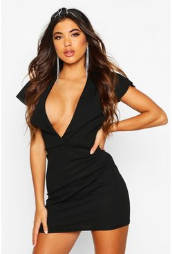 Black Wrap Caped Back Mini Dress