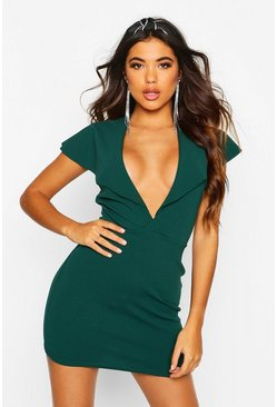 Womens Bottle green Wrap Caped Back Mini Dress