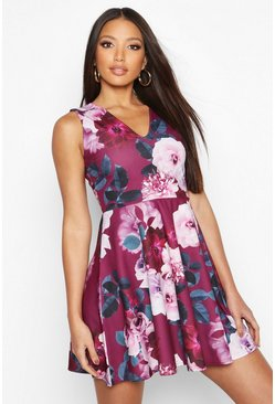 Womens Plum Floral Plunge Skater Dress