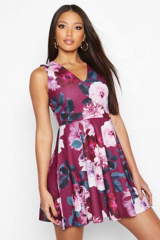 Floral Plunge Skater Dress