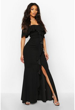 Black Off The Shoulder Ruffle Front Maxi Dress