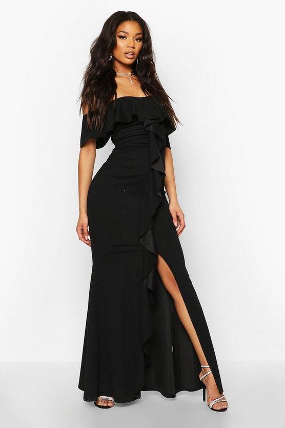 Bardot Ruffle Front Maxi Dress