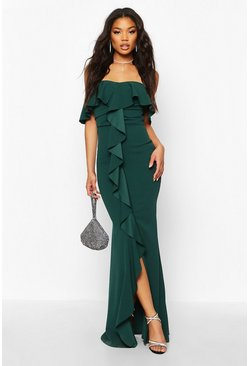 Bottle green Bardot Ruffle Front Maxi Dress