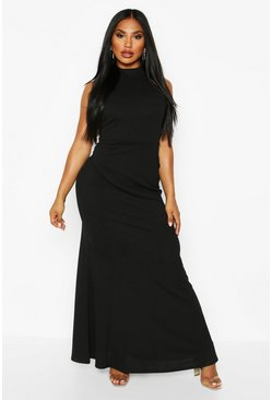 Womens Black High Neck Strappy Back Maxi Dress