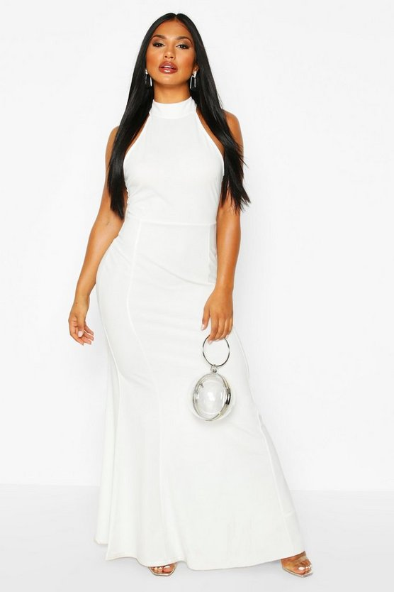 Ivory High Neck Strappy Back Maxi Dress