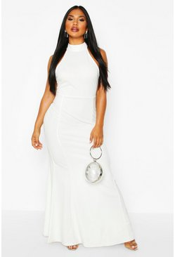 Womens Ivory High Neck Strappy Back Maxi Dress