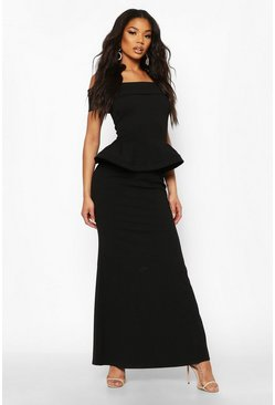 Black Bardot Peplum Maxi Dress