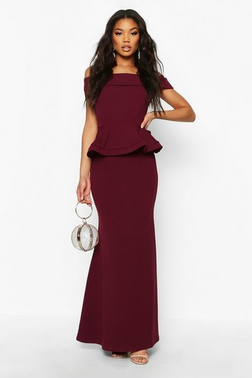 Womens Plum Bardot Peplum Maxi Dress