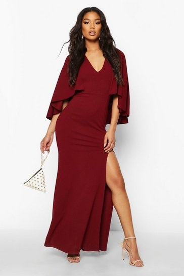 Womens Berry V Neck Caped Maxi Dress