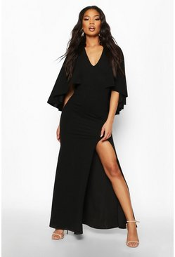Black V Neck Caped Maxi Dress
