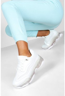 Womens White Clear Sole Chunky Trainers