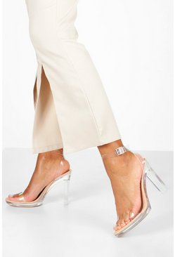Womens Nude Clear Platform Two Part Heels