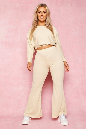 Womens Stone Recycled Rib Fit and Flare Trousers