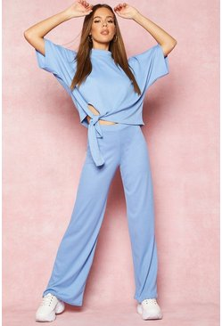 Womens Blue Recycled High Neck Tie Detail Rib Co-Ord
