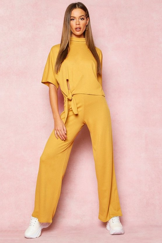 Mustard Recycled High Neck Tie Detail Rib Co-Ord