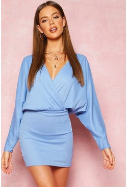 Blue Recycled Drop Sleeve Plunge Mini Dress