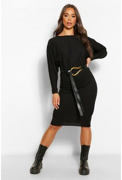 Womens Black Recycled Wide Neck Rib Midi Dress
