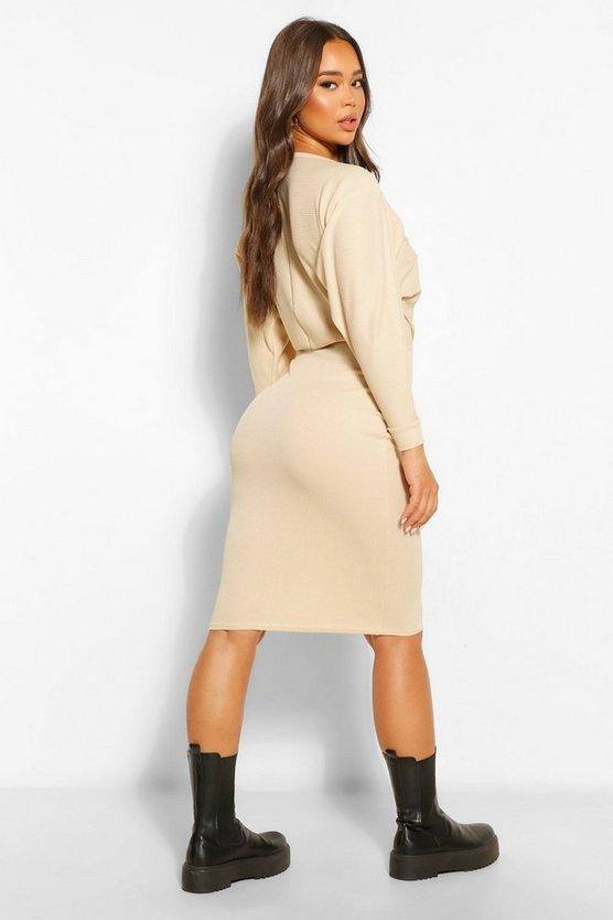 Recycled Wide Neck Rib Midi Dress