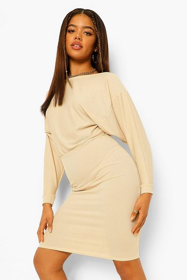 Stone Recycled Wide Neck Rib Midi Dress