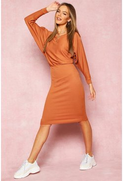 Womens Tan Recycled Wide Neck Rib Midi Dress