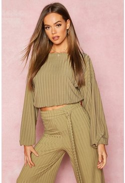 Womens Olive Recycled Rib Balloon Sleeve Top