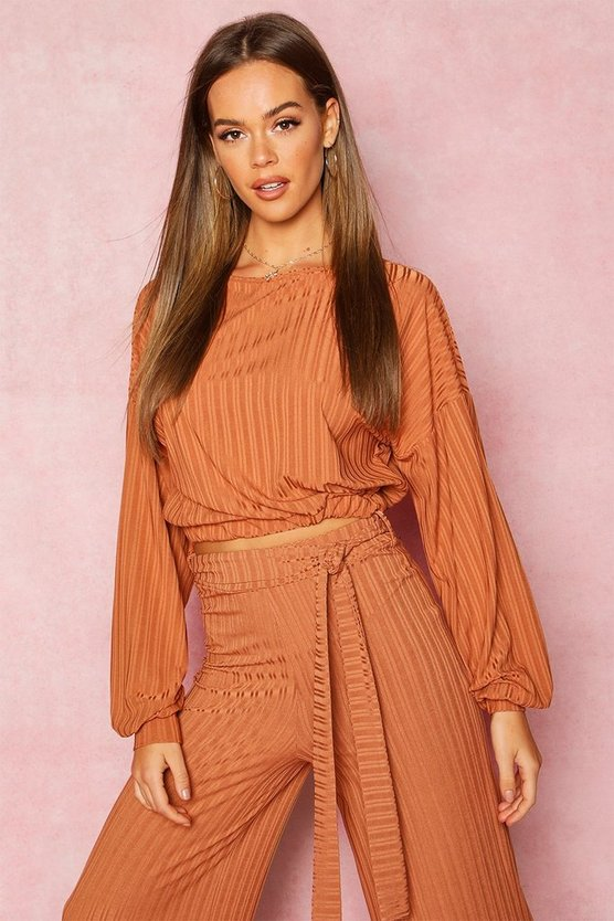 Womens Tan Recycled Rib Balloon Sleeve Top