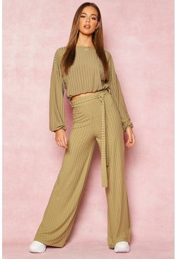 Olive Recycled Wide Leg Tie Waist Rib Trousers