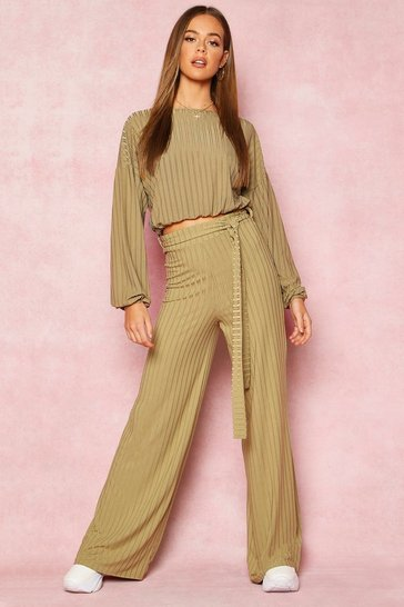 Womens Olive Recycled Wide Leg Tie Waist Rib Trousers